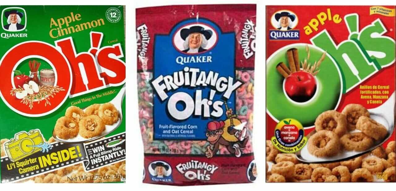 Apple Cinnamon Oh's, Fruitangy Oh's, and Apple Oh's cereal varieties