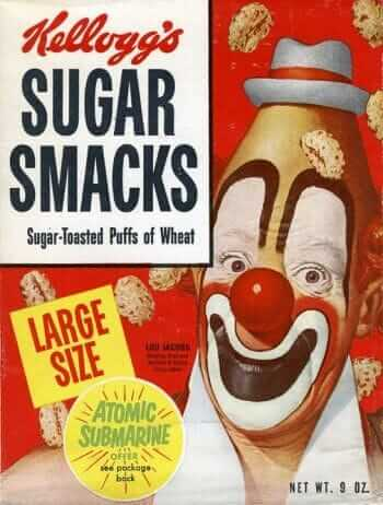 Sugar Smacks cereal box with Cliffy the Clown