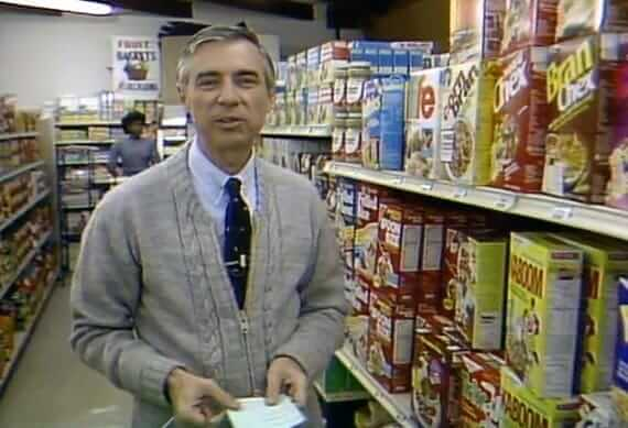 Mr. Rogers next to Kaboom cereal