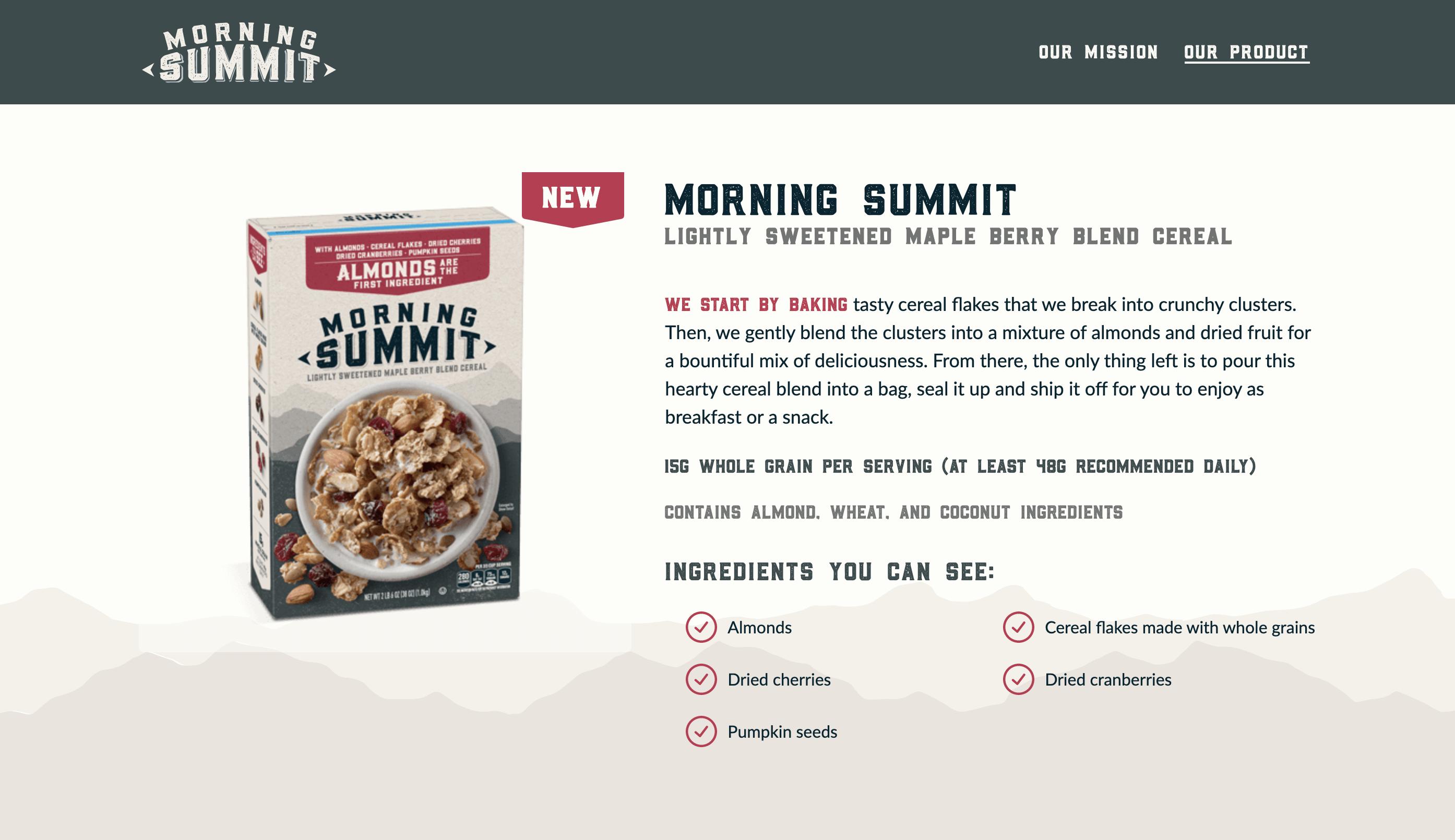 Screenshot of Morning Summit website
